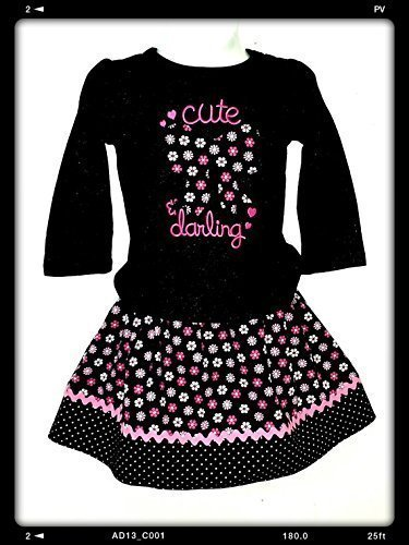 Girls Baby Cute Darling 2 -pc Outfit size 12 Months Shirt with matching skirt - Darling Pink Skirt