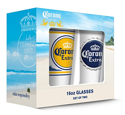 Corona Extra Labels Pub Glass (Set of 2), Clear