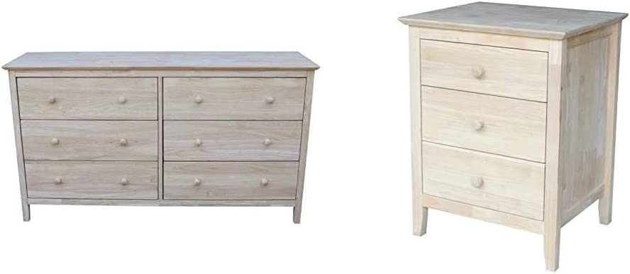 International Concepts Dresser with 6 Drawers, Unfinished & Nightstand with 3 Drawers, Standard