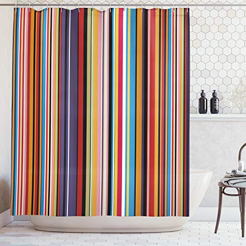 Ambesonne Abstract Shower Curtain, Vibrant Colored Stripes Vertical Pattern Funky Modern Artistic Tile Illustration, Fabric Bathroom Decor Set with Hooks, 70 Inches, Orange Purple