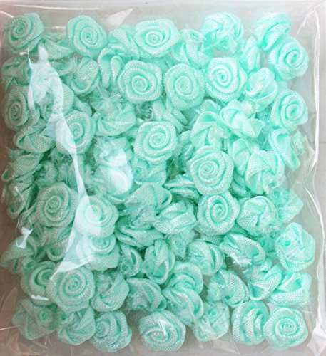Satin Ribbon Mini Roses Flowers Mint green for Crafts Appliqué Sewing 1 cm - 100 pack