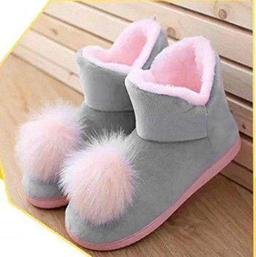 Elevin (tm) Donne Incinte A Casa Pantofole Hairball Autunno Inverno Caldo Scarpe Scarpe Yoga Grigio
