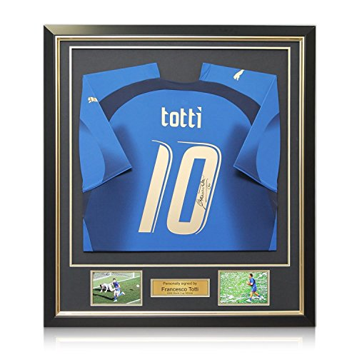 Francesco Totti Signed Italy 2006 World Cup Winners Football Jersey In Deluxe Black Frame With Gold Inlay 2006 Italy World Cup