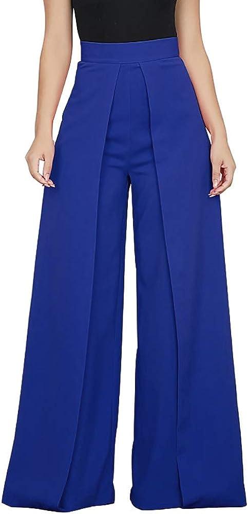RISTHY Pantalones Mujer Ancho Pierna Pantalones de Vestir Oficina ...