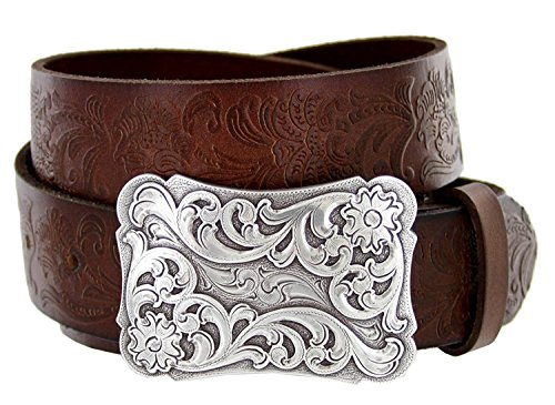 Men's Cowtown Western Tooled Full Grain Leather Belt 1 1/2 Wide Black Brown (38, Brown) (Changeable Buckle)
