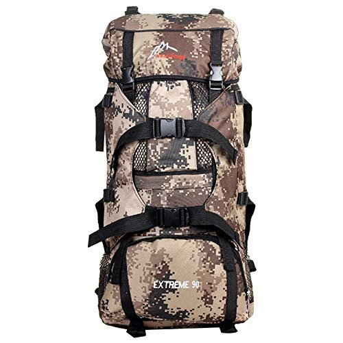 Hiking Backpack 90L, Winning Outdoor Sport Daypacks Waterproof Hydration Bag for Climbing Camping Fishing Travel Cycling Skiing Riding with Rain Cover Easy Carry Dark Camouflage [並行輸入品] B07R4V9S3T