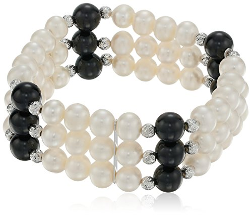 Silver Beaded Stretch Bracelet Plated (Rhodium Plated Silver Freshwater Cultured Pearl and Onyx Beaded Stretch Bracelet)