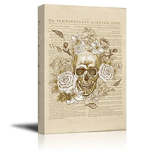 Wll Art Skull with Flowers on Vintage Newspaper Background and Stretched