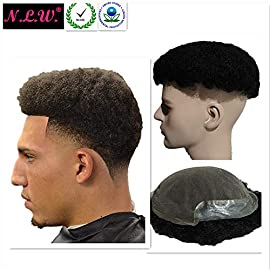 N.L.W. Afro Toupee for men Afro curl Hair pieces for men Afro kinky curly Human hair replacement system for men, 10″ x 8″ human hair mens toupee hair piece. #1 Jet black