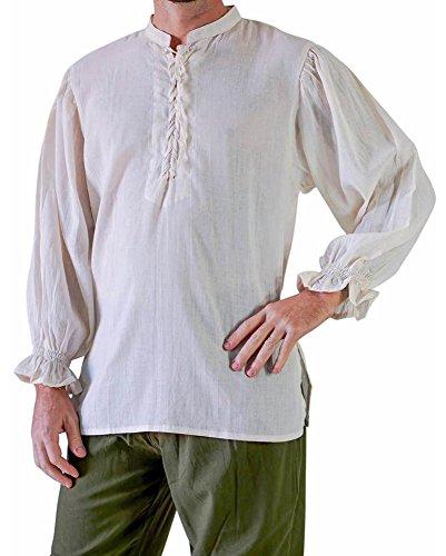 CNJFJ Mens Plus Size Vintage Medieval Lace up Shirts Costume Long Sleeve Viking Renaissance Pirate Cosplay]()