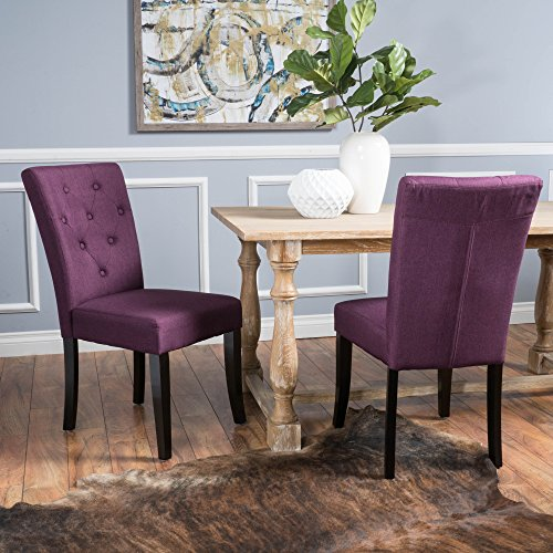 - Christopher Knight Home 298396 Nyomi Fabric Dining Chair, Deep Purple