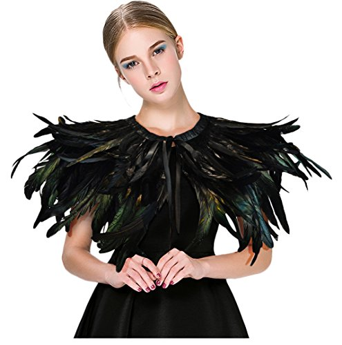 L'VOW Fashion Feather Cape Stole Black Shrug Shawl Poncho Iridescent(Black-002) -