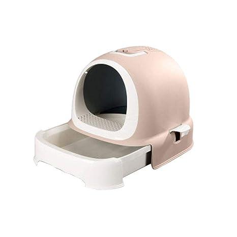 Caja de arena para gatos con autolimpieza ultra, cubierta, automática con desagüe totalmente desechable
