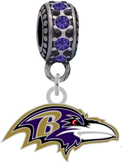 Amazon Com Final Touch Gifts Ravens Logo Charm Compatible With Pandora Style Bracelets Can Also Be Worn As A Necklace Included Sports Fan Necklaces Sports Outdoors