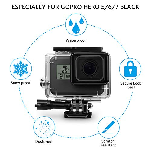 FINEST+ Waterproof Housing Shell for GoPro Hero 7/2018/6/5 Black Diving Protective Housing Case 45m with Red Filter and Bracket Accessories for Go Pro Hero7/(2018) 6/5 Action Camera