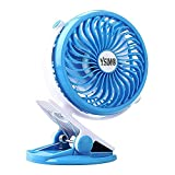 Image of YSIM Clip on Fan Rechargeable Battery Fan 360 Degree Rotation USB to Baby Stroller and Desk with Quietness Blue 5""