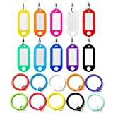 InterUS Key Caps Tags,80 Pcs Id Labels Tags with Split Ring, Assorted Colors with 10 Round Flat Metal Key Ring