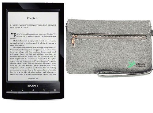 UltimateAddons Grey Eco Friendly Material Sleeve Felt Case for Sony PRS-T1 E-Reader