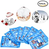 CoscosX 30 Pack SAP Magic Snow Instant Fake Fluffy Snow Powder Reusable DIY Artificial Slime Simulation Snow Super Absorbant Christmas Wedding Festival Market Fairy House Decor Children Toys