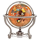 KALIFANO 6'' Gemstone Globe w/ Copper Amber Opalite Ocean & Silver Commander 3-Leg Table Stand