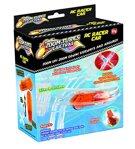 (Zoom Tubes Racer 4 Pack, Additional Orange RC Race Car, Remote & USB Charger, & Criss Cross Crash Connector. Additional Tubes NOT Included (As Seen on TV))
