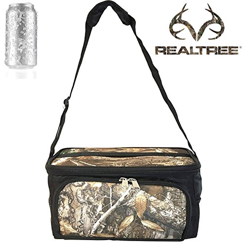 RealTree Camo Cooler lunch Box Bag 24 Cans Padded Adjustable Shoulder straps Food Storage BPA Free, FDA Approved - Keep your Beer ICE COLD! (Insulated Plastic Liner)