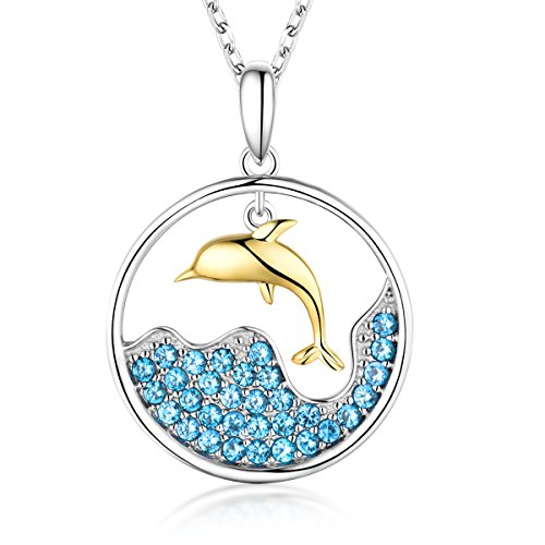 Sterling Silver Dolphin Rolling Wave Pendant Necklace Box Chain 18+2'' (Necklace Jewelry Animal)