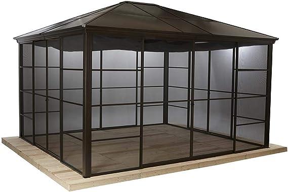 Sojag Gazebo Castel - Cenador de aluminio (10 x 12 cm, 362 x 298 cm, techo duro): Amazon.es: Jardín
