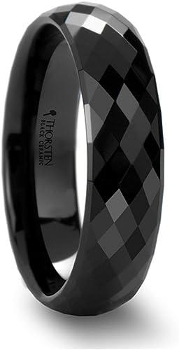 Thorsten Yukon Black Ceramic Ring with Black Walnut Wood Inlay Beveled Edges 4mm Width from Roy Rose Jewelry