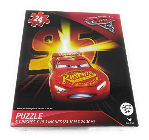 [Kids Hot SELLER 24 Piece Disney Pixar Shaped Jigsaw Puzzle Square McQueen Red] (Homemade Disney Character Costumes Adults)