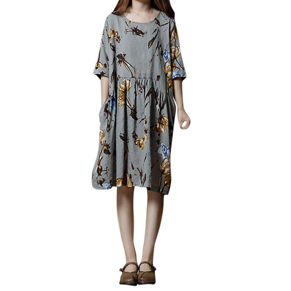 Chrikathy Women New Fashion Floral Print Half Sleeve O-Neck Loose Casual Dress by Chrikathy Women Dressess