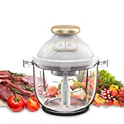 #LightningDeal Electric Food Chopper,A-KISSEE 2.3L Food Processor 300W Meat Grinder with 8-Cup Glass Bowl for Meat,Vegetables,Fruits and Nuts,Fast & Slow 2 Speeds,4 Sharp Blades,BPA-Free