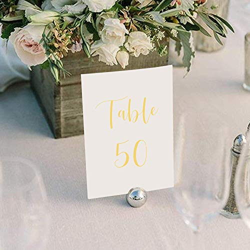 UNIQOOO Gold Color Table Numbers for Wedding | 4x6 Double Sided Number 26-50 Expansion Pack, Calligraphy Design | Ideal Table Sign for Banquet Dinner Party | Pack of 25 (NOT Gold FOIL)