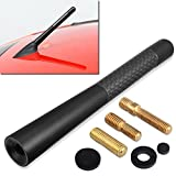 "Automotive : GTP Aluminum Black 4.7"" Short Carbon Fiber Vehicle Car AM/FM Radio Antenna Universal Replacement"