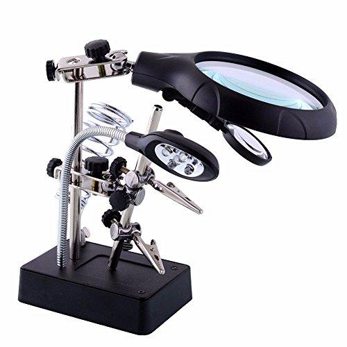 Dritte Hand mit Halte-Klemmen, Intsun LED-Lupe und Lötkolbenhalter, Lötstation mit LED Licht und Lupe mit 2,5-facher, 3,5-facher und 10-facher Vergrößerung für elektronische Schweißen, Modellierung, Briefmarkensammeln , Stickereien, Antiquitäten, biologische Beobachtung, Lesen, usw.