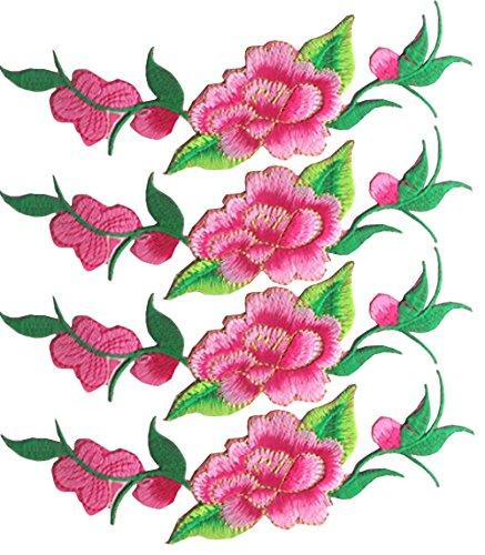 4 piezas de hierro bordado de color rosa en parches para rayas de ropa ropa DIY etiqueta de retazos personalizada de flores...