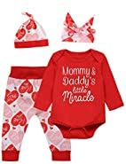 Catmama Baby Girls' Saint Valentine's Day Outfit Set Bodysuit Pants With Hat