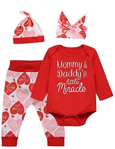 Catmama Newborn Baby Girls' Saint Valentine's Day Outfit Set Bodysuit Pants With Hat (Red, 6-12 Months)