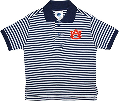 University of Auburn Tigers Stiped Polo Shirt by Creative Knitwear,Navy,3T
