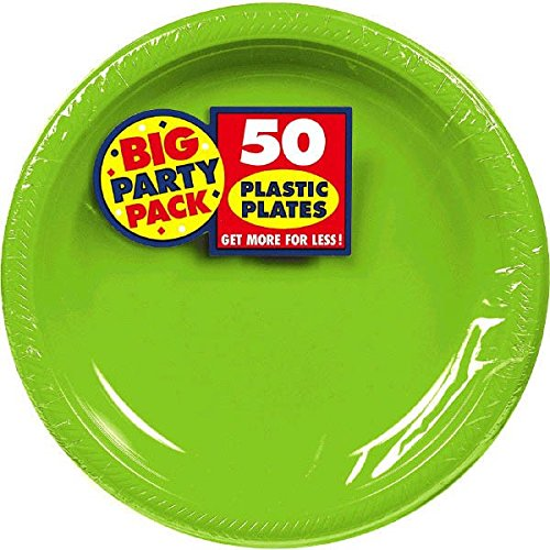 Big Party Dessert Plates, 50 Pieces, Made from Plastic, Kiwi Green Theme, 7 Inches by Amscan