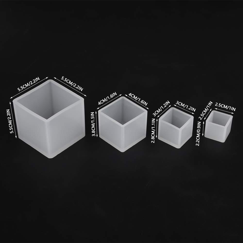 stampi per colata in Resina cubo Formati Quadrati in Resina epossidica di Varie Dimensioni Stampo per Sapone di Carta Candele Ornamenti Artigianato Stampi in Resina 4 Pezzi