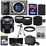 Sony Alpha A6000 Wi-Fi Digital Camera Body (Graphite) with 50mm f/1.8 OSS Lens + 64GB Card + Case + Battery + Tripod + Tele/Wide Lens Kit