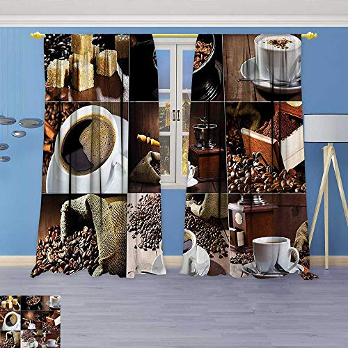 - Philiphome Thermal Insulated Blackout Curtain Photos of Coffee Mugs and Roasted Bean Bags Grinder Sugarcubes Collage Brown White Living Room Bedroom Window Drapes 2 Panel Set