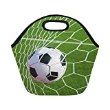 InterestPrint Soccer Football in Goal Net Reusable Insulated Neoprene Lunch Tote Bag Cooler 11.93'' x 11.22'' x 6.69'', Green Grass Portable Lunchbox Handbag for Men Women Adult Kids