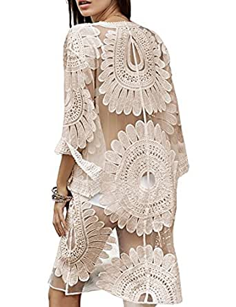 4890a3fa22e0a shermie Women s Floral Crochet Lace Beach Swimsuit Cover Ups Long ...