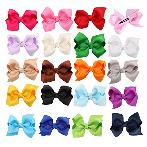 3 inch 20 Pcs Boutique Girls Hair Bows Hair Clips For Baby Girls Toddlers  (3 inch 20 Pcs)