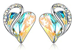 Heart Earrings Made with Swarovski Crystals Birthstone