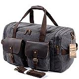 SUVOM Leather Overnight Duffle Bag Canvas Travel Tote Duffel Weekend Bag Luggage (Dark Grey)