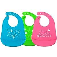 3Pack-babero de silicona impermeable para bebé,baberos de silicona impermeables, suaves y livianos, bolsas anchas de alimentos, lavavajillas seguros o limpios son buenas opciones (verde + azul + rosa)