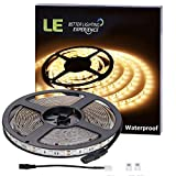LE 16.4ft Light Strip, 300 Units SMD 5050 LEDs, 3000K Warm White, 12V Waterproof LED Tape, Outdoor Indoor Home Garden Kitchen Bar Party Christmas Holiday Festival Celebration Decoration and More
